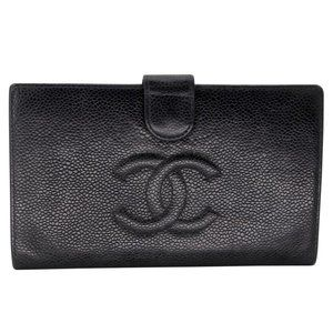 Chanel Black Caviar Leather Long French Wallet